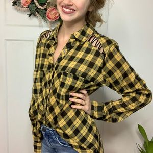 Free People Yellow Black Cutout Shoulder Top